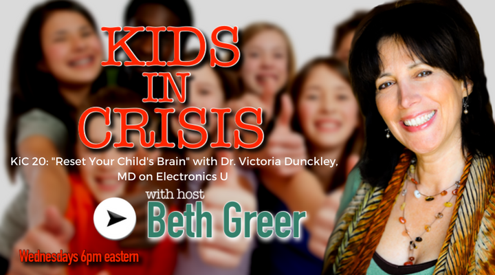 "Image: KiC 120: Beth Greer interviews psychiatrist Dr. Victoria Dunckley, MD, leading authority on the effects of electronics use and screen time on the developing child's brain, and author of ""Reset Your Child's Brain."""